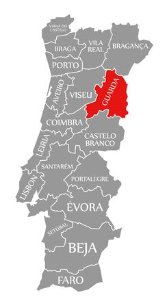 Guarda red highlighted in map of Portugal