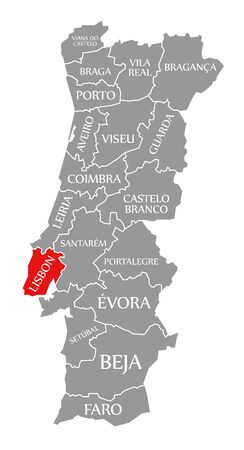 Lisbon red highlighted in map of Portugal