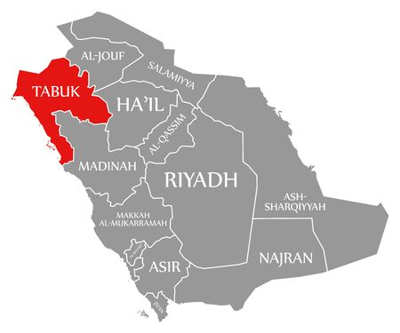 Tabuk red highlighted in map of Saudi Arabia