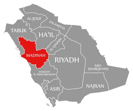 Madinah red highlighted in map of Saudi Arabia