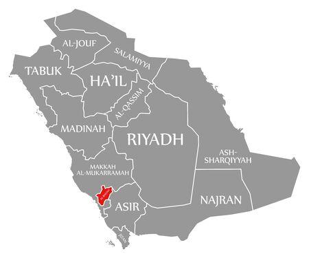 Al-Bahah red highlighted in map of Saudi Arabia