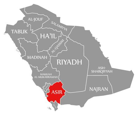 Asir red highlighted in map of Saudi Arabia