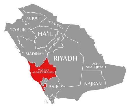 Makkah Al-Mukarramah red highlighted in map of Saudi Arabia 写真素材