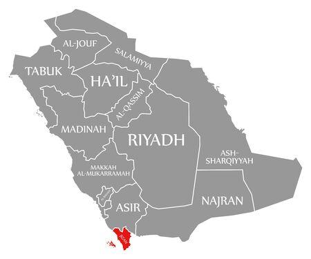 Jizan red highlighted in map of Saudi Arabia