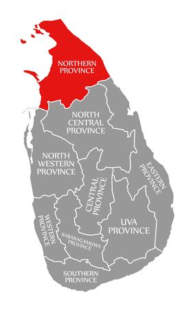 Northern Province red highlighted in map of Sri Lanka Stock fotó