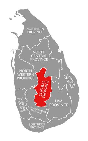 Central Province red highlighted in map of Sri Lanka Stock fotó