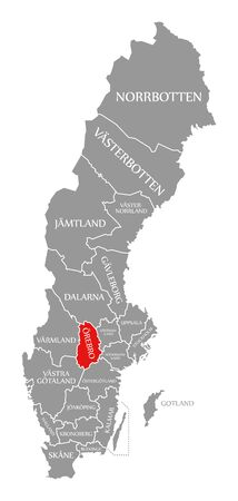 Orebro red highlighted in map of Sweden Stock fotó