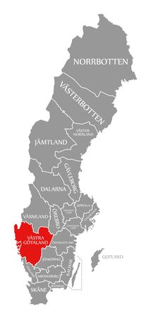 Vastra Gotalands red highlighted in map of Sweden