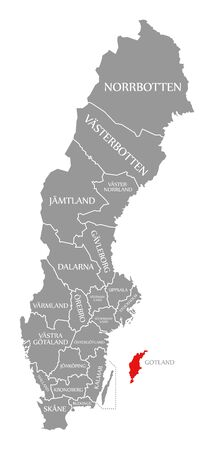 Gotland red highlighted in map of Sweden