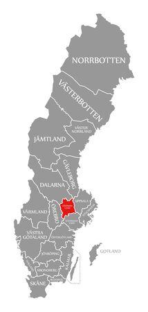Vastmanland red highlighted in map of Sweden Stock fotó