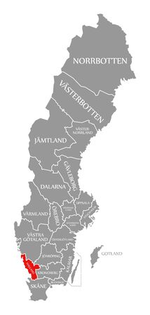 Halland red highlighted in map of Sweden
