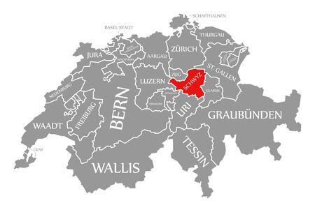 Schwyz red highlighted in map of Switzerland