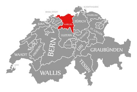 Aargau red highlighted in map of Switzerland