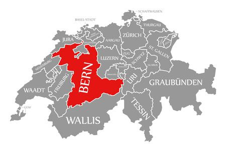 Bern red highlighted in map of Switzerland Stock fotó