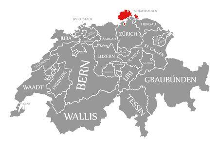 Schaffhausen red highlighted in map of Switzerland