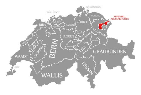 Appenzell Ausserrhoden red highlighted in map of Switzerland Stock fotó
