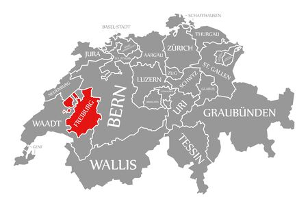 Freiburg red highlighted in map of Switzerland