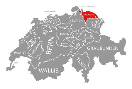 Thurgau red highlighted in map of Switzerland