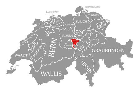 Nidwalden red highlighted in map of Switzerland