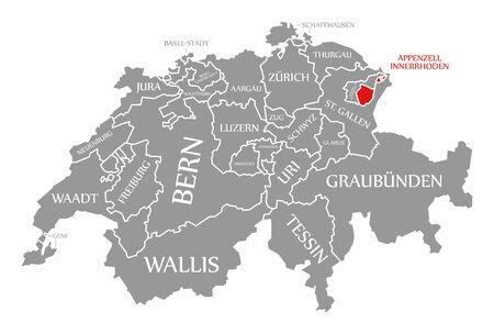 Appenzell Innerrhoden red highlighted in map of Switzerland Stock fotó