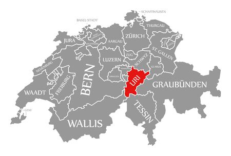 Uri red highlighted in map of Switzerland