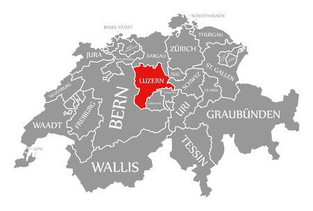 Luzern red highlighted in map of Switzerland