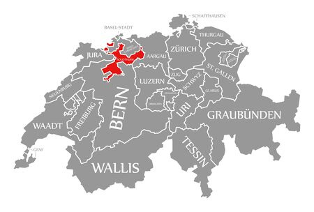 Solothurn red highlighted in map of Switzerland