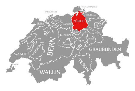 Zuerich red highlighted in map of Switzerland