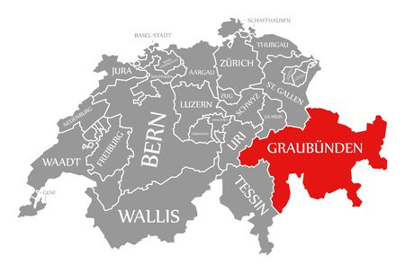Graubuenden red highlighted in map of Switzerland