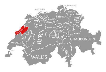 Neuenburg red highlighted in map of Switzerland