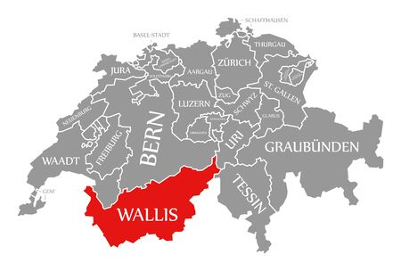 Wallis red highlighted in map of Switzerland Stock fotó