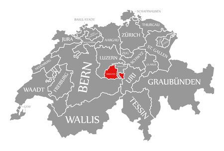 Obwalden red highlighted in map of Switzerland