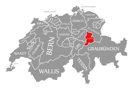 Glarus red highlighted in map of Switzerland