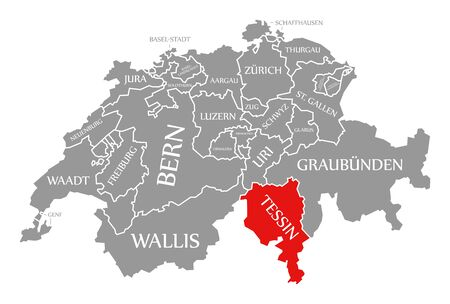 Tessin red highlighted in map of Switzerland