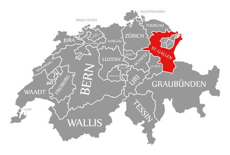 St Gallen red highlighted in map of Switzerland Stock fotó