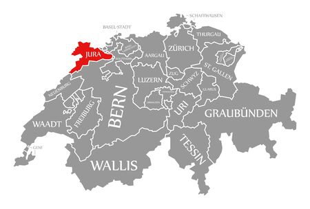 Jura red highlighted in map of Switzerland