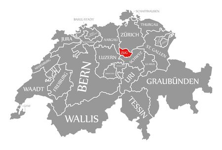Zug red highlighted in map of Switzerland