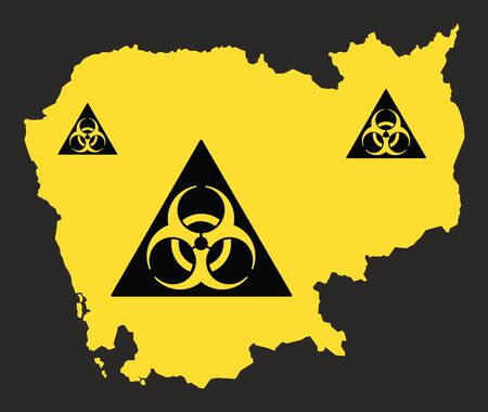 Cambodia map with biohazard virus sign illustration in black and yellow Ilustrace