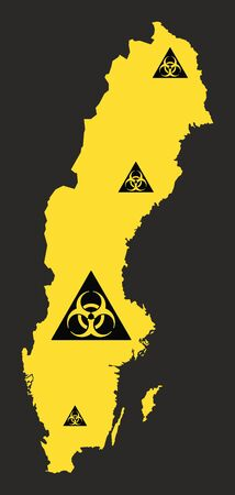 Sweden map with biohazard virus sign illustration in black and yellow