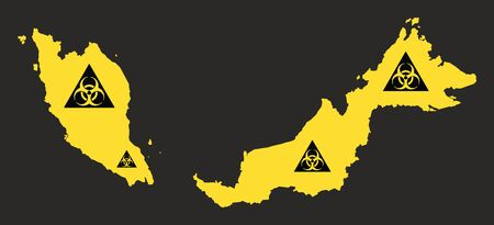 Malaysia map with biohazard virus sign illustration in black and yellow