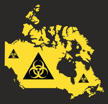 Canada map with biohazard virus sign illustration in black and yellow Ilustrace