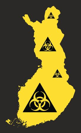 Finland map with biohazard virus sign illustration in black and yellow