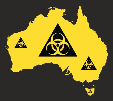 Australia map with biohazard virus sign illustration in black and yellow