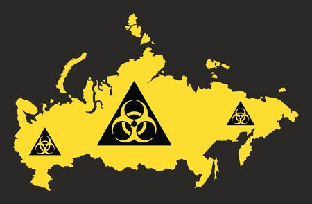 Russia map with biohazard virus sign illustration in black and yellow