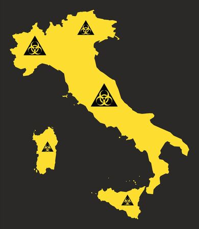 Italy map with biohazard virus sign illustration in black and yellow