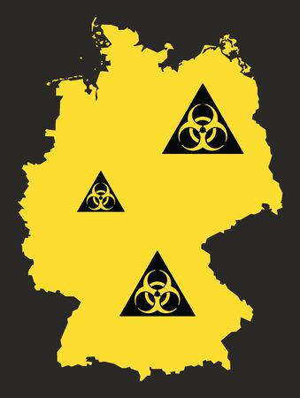 Germany map with biohazard virus sign illustration in black and yellow