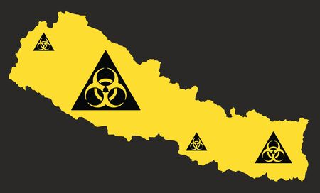 Nepal map with biohazard virus sign illustration in black and yellow