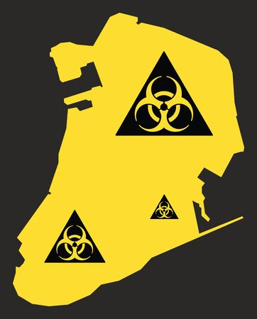 Macau map with biohazard virus sign illustration in black and yellow