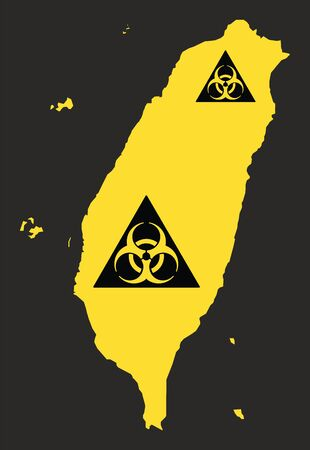 Taiwan map with biohazard virus sign illustration in black and yellow