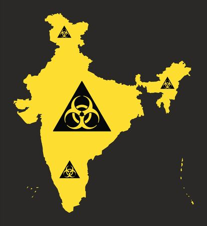 India map with biohazard virus sign illustration in black and yellow